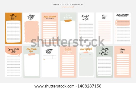 Set of weekly planners and to do lists simple design and trendy zero waste lettering. Template for agenda, planners, check lists, and other kids stationery. Isolated. Vector