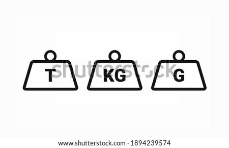 Set of weight icon. Ton, kilogram, gram. Thin line. Illustration vector Zdjęcia stock ©