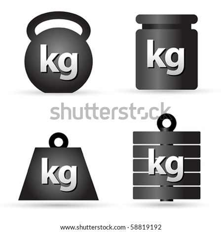 Set of weight kilogram barbell icons