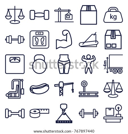 Set of 25 weight outline icons such as barbell, floor scales, construction crane, hook with cargo, scales, hot dog, measuring tape, waist fitness, fintess equipment