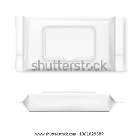 Set of wet wipes flow packs with realistic transparent shadows on white background. Vector template for your design. EPS10.