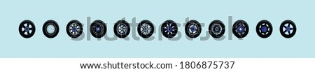 set of wheel cartoon icon design template with various models. vector illustration ストックフォト ©