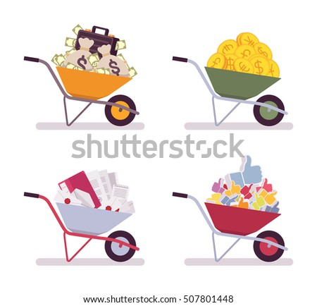 Set of wheelbarrows full money, coins, paper, likes. Cartoon vector flat-style illustration #507801448