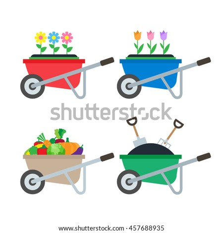 set of wheelbarrows with flowers harvest vegetables dirt shovel pitchfork in flat style isolated on white background #457688935