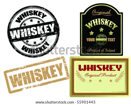 set of whiskey label and stamps