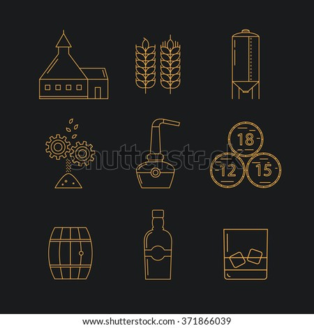 set of whisky icons modern