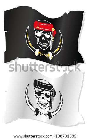 set of white and black pirate flags