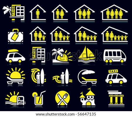 Set of white and yellow summer icons.