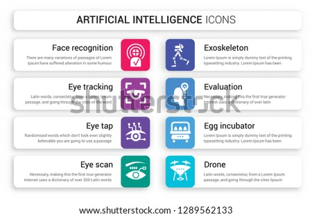 Set of 8 white artificial intelligence icons such as Face recognition, Eye tracking, tap, scan, Exoskeleton, Evaluation isolated on colorful background