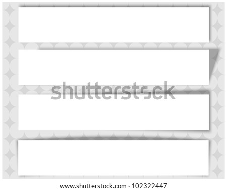 Set of white banners with different shadows on abstract background. Vector 10 eps.