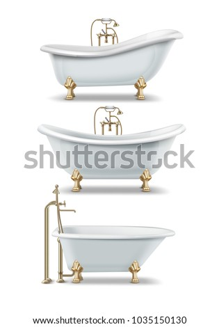 Set of white bathtubs of vintage style with clawfoot and golden elements. Vector illustration of classic rim tub, double slipper and ended tubs, isolated on white background. Foto d'archivio ©
