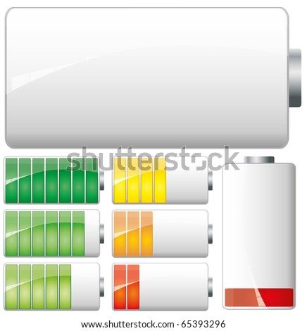Set of White Batteries charge showing stages of power running low and full, vector