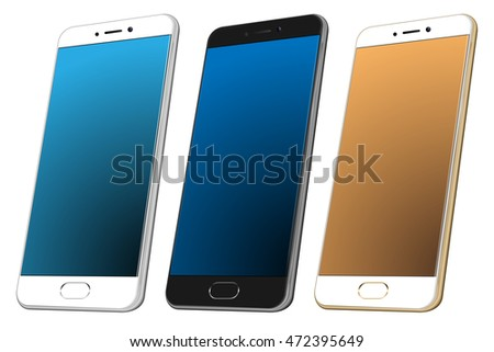 Set of white, black and gold Realistic cell phone. High detailed smartphone 3d mockup. Vector illustration. New perspective style smartphone. cellphone perspective view.