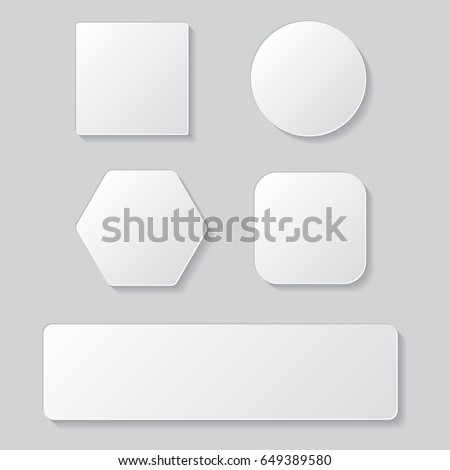 Set of white blank button. Round square rounded buttons