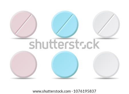 Set of white, blue and pink round medicine pills of various kinds, isolated vector on white background with shadow