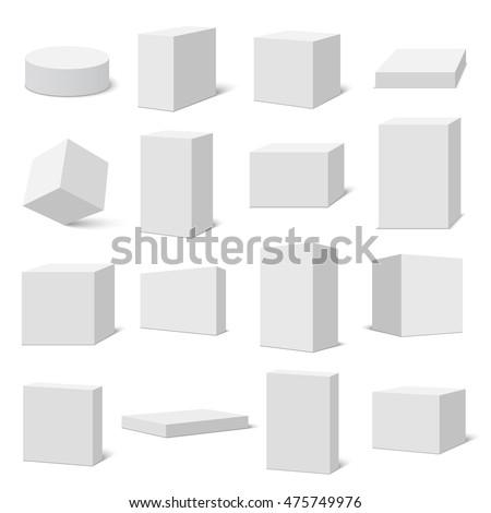 Set of white boxes. Vector illustration.