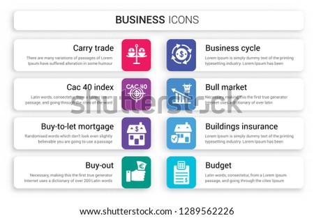 Set of 8 white business icons such as Carry trade, CAC 40 index, Buy-to-let mortgage, Buy-out, Business cycle, Bull market isolated on colorful background
