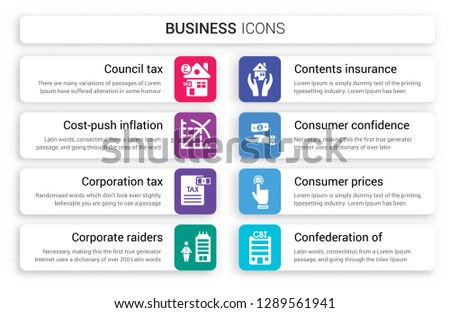 Set of 8 white business icons such as Council tax, Cost-push inflation, Corporation Corporate raiders, Contents insurance, Consumer confidence isolated on colorful background