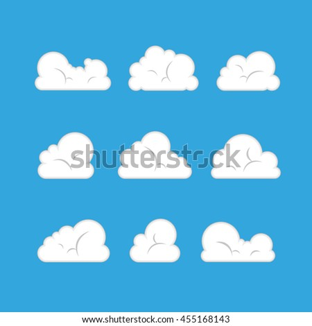 set of white clouds on blue