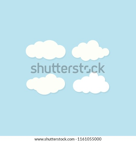 set of white clouds on blue sky. Overcast icon. Vector air flat illustration. Cartoon weather sign. Cloudy day. Season symbol. Hosting or data symbol.