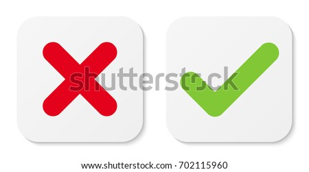 Set of white cross & check mark icons, flat square buttons. Vector EPS10