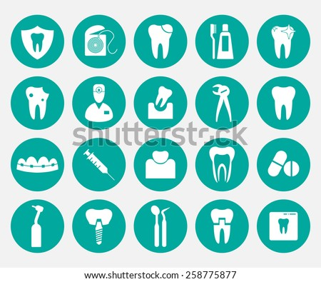Set of white dental icons in green circles.