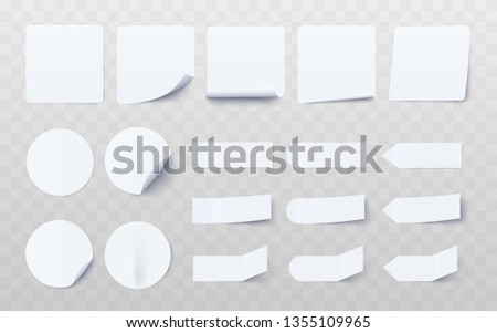 Set of white different shaped stickers and flags realistic style, vector illustration isolated on transparent background. Blank adhesive sheets of adhesive notes paper for labeling information #1355109965