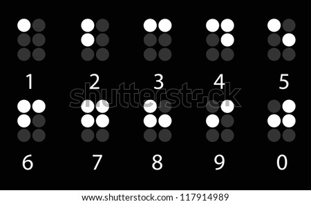 Set of white digital braille number on black