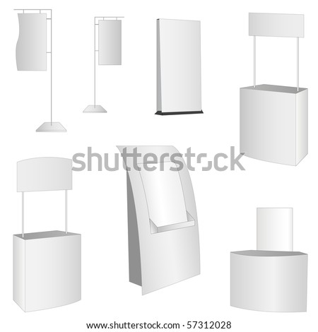 set of 7 white display. vector illustration