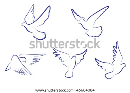 Set of white doves as a concept of love or peace, such as emblem or logo template. Jpeg version is also available