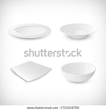 Set of white empty plates. Side view soup plate, round and square plates, ceramic bowl . Different form plates on vignette background. Elements for designs in kitchen theme. Vector illustration.