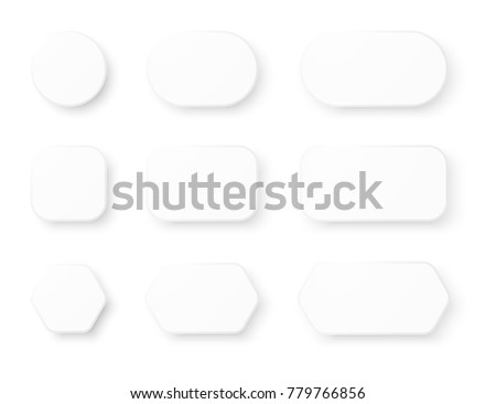 set of white empty realistic buttons with rounded corners and shadow on white background #779766856