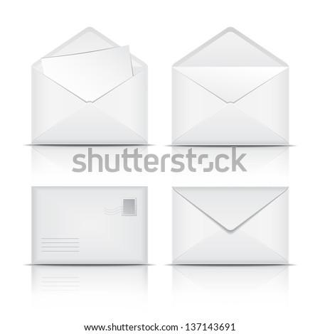 Set of White envelopes. Vector illustration on white background