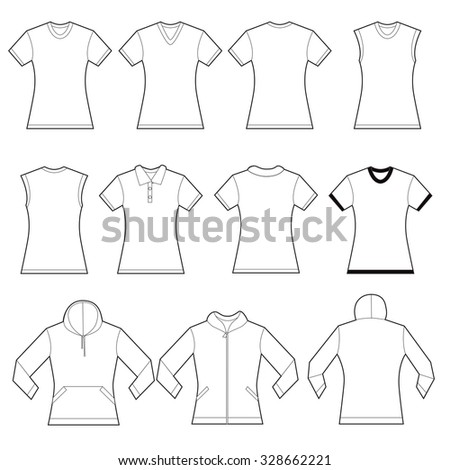 set of white female shirt