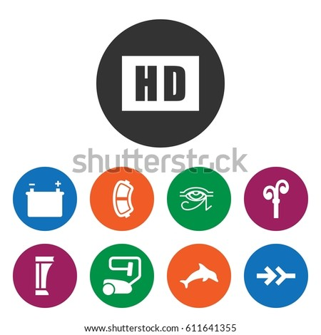 set of 9 white filled icons