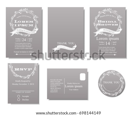 Beautiful gray white flower business card template vector design set of white flowers wreath on gray background wedding invitation cardminimalist concept stopboris Gallery