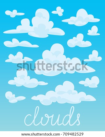 set of white fluffy clouds on
