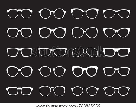 Set of white Glasses isolated. Vector Icons.