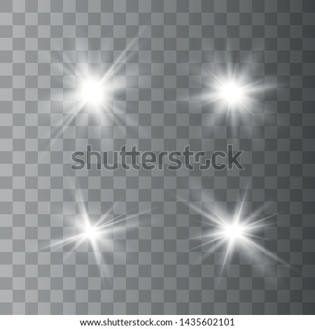 Set of white glowing lights effects isolated on transparent background. Sun flash with rays and spotlight. Glow light effect. Star burst.