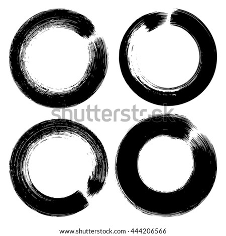 Set of white grunge brushstroke circles on black background vector illustration. Abstract hand drawn grunge banners
