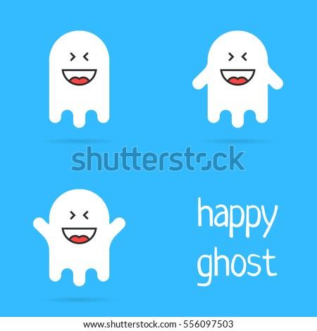 set of white happy ghost emoji