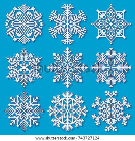 Set of white highly detailed geometrical snowflakes on blue background. Vector illustration