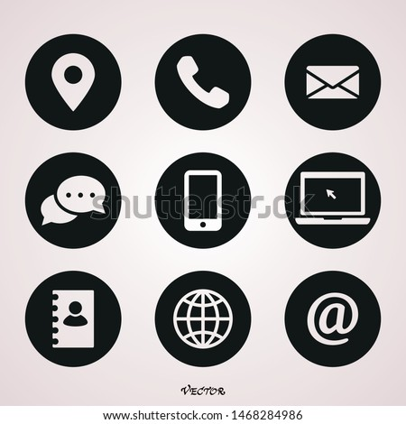 Set of white icons isolated against a black background, on a theme Contacts and communication