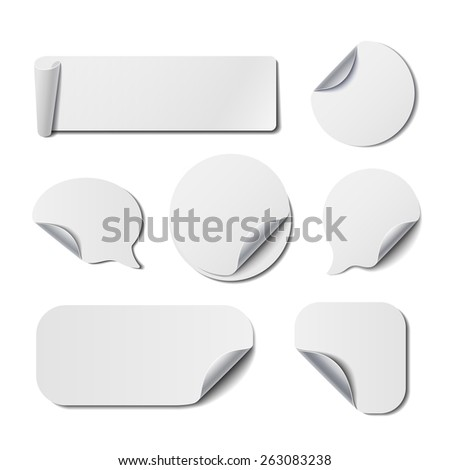 Set of White Isolated Turned Stickers. Vector Backgrounds for Price Tags, Banners and Advertisement. #263083238