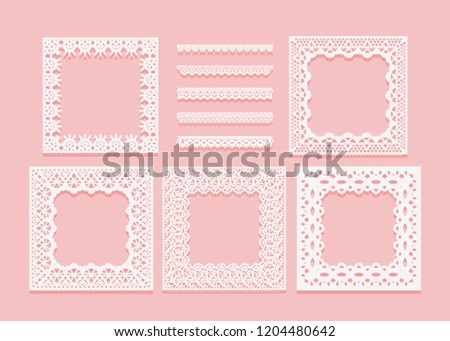 Set of white lace frames of square shapes and dividers. Openwork vintage elements isolated on a pink background. Vector illustration.