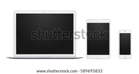 Set of white laptop, tablet and phone, all single and isolated, with blank screens.