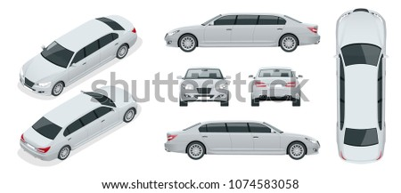 Set of white limousines isolated on white. Template limousine icon vector. Premium people transportation. Viev isometric, front, rear, top, side.