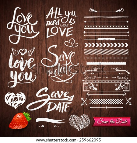 Set of White Love Phrases, Border Patterns and Symbols with Strawberry Fruit and Save the Date Pink Ribbon on a Brown Wooden Background. Vector illustration.