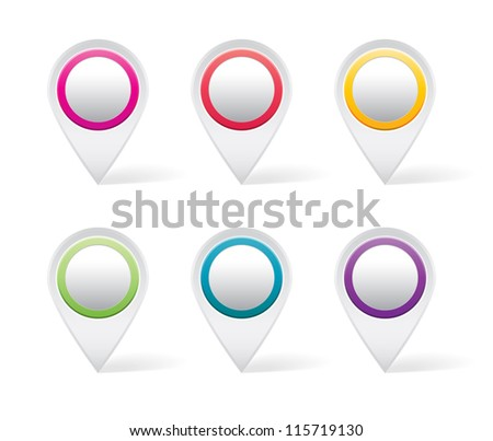 Set of white map markers with colorful details