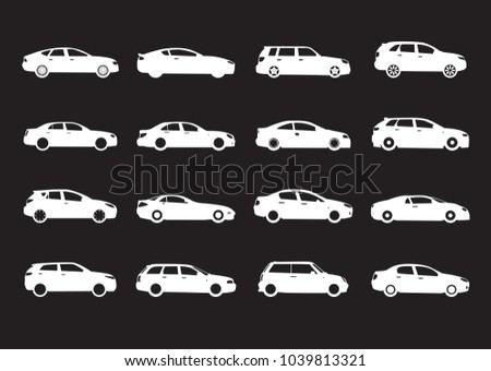 Set of white modern shapes and Icons of Cars on black background